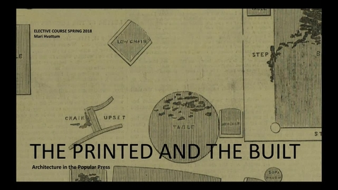 Thumbnail for entry Elective - The Printed and the Built