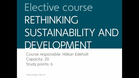 Thumbnail for entry Elective - Rethinking Sustainability and Development