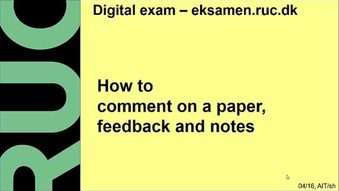 Thumbnail for entry How to comment on a paper, feedback and notes