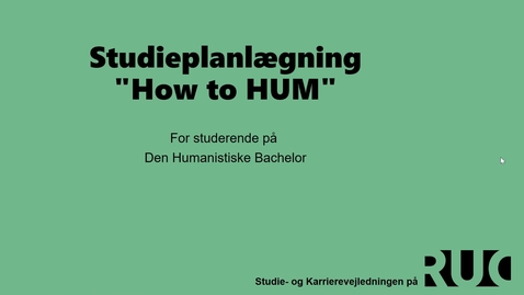 Thumbnail for entry HUMBACH Studieplanlægning med Jacqueline