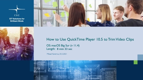 Thumbnail for entry How to Use QuickTime Player 10.5  to Trim Video Clips (FullHD).mov