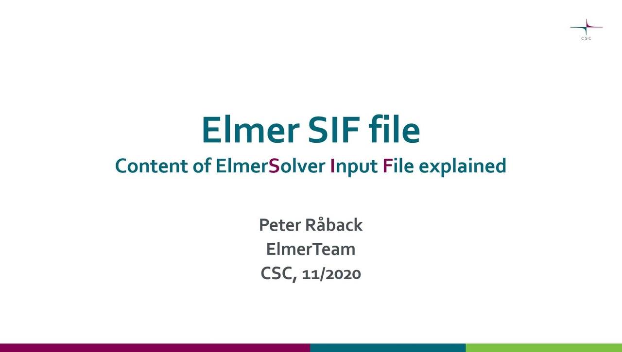 Elmer Solver Input File explained