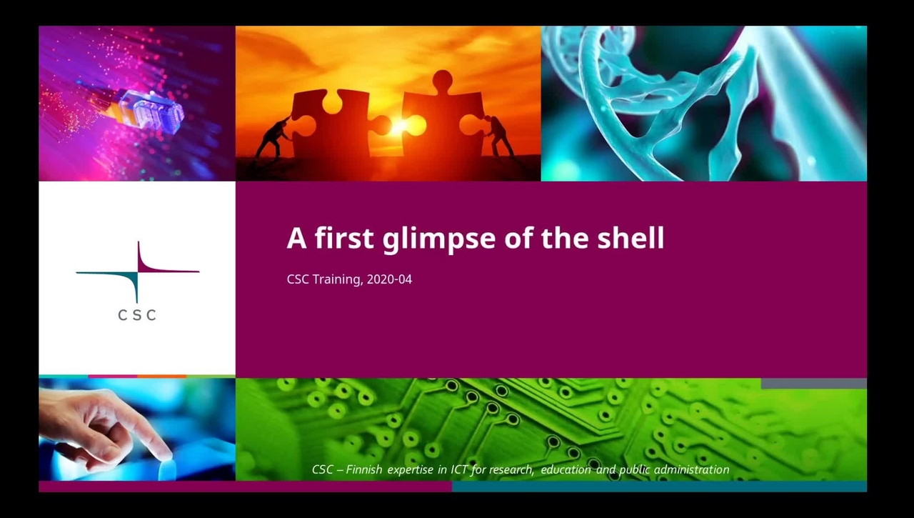 Introduction to Linux:  4/4 First glimpse of the shell - files