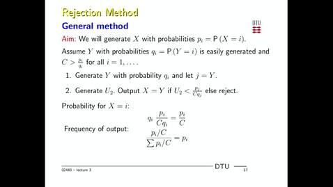 Thumbnail for entry General rejection method discrete random variables