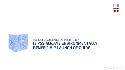 Thumbnail for entry Is PSS always environmentally beneficial? Launch of guide