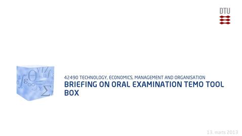 Thumbnail for entry Briefing On Oral Examination TEMO tool box