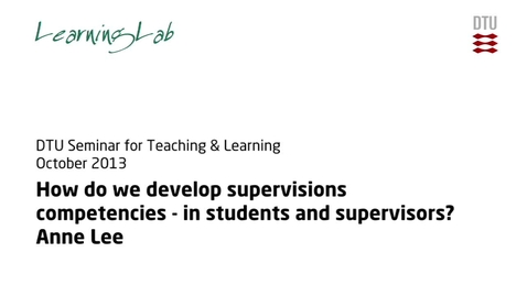 Thumbnail for entry Anne Lee Research Supervision: Keynote #4