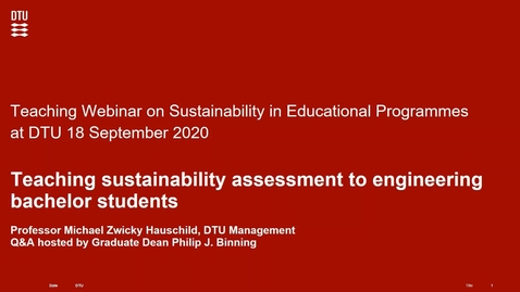 Thumbnail for entry Teaching sustainability assessment to engineering bachelor students