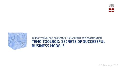 Thumbnail for entry TEMO Toolbox: Secrets of successful business models