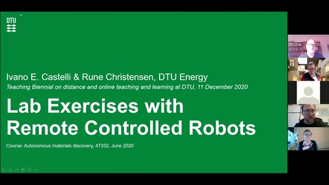 Thumbnail for entry Lab Exercises with Remote Controlled Robots, Ivano E. Castelli and Rune Christensen, DTU Energy