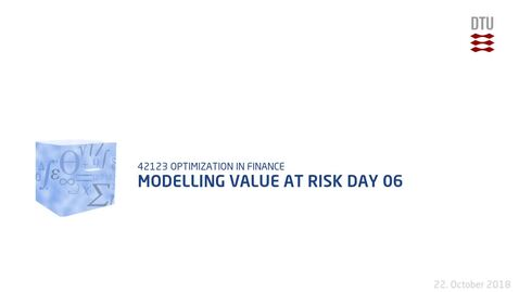 Thumbnail for entry Modelling Value at Risk Day 06