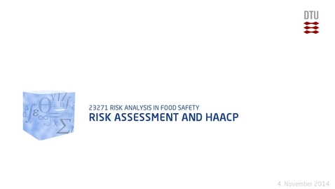Thumbnail for entry Risk Assessment and HAACP