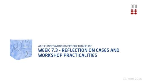 Thumbnail for entry Week 7.3 - Reflection on cases and workshop practicalities