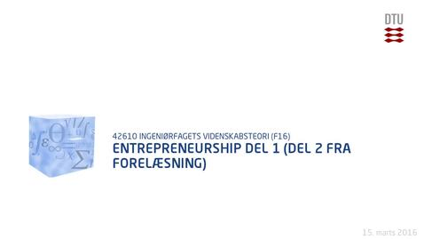 Thumbnail for entry Entrepreneurship Del 1 (Del 2 fra forelæsning)