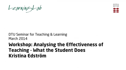 Thumbnail for entry Workshop: Analysing the Effectiveness of Teaching - What the Student Does #2