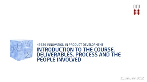 Thumbnail for entry 01-1/4: Introduction to the course, deliverables, process and the people involved