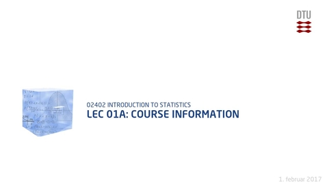 Thumbnail for entry Lec 01A: Course Information
