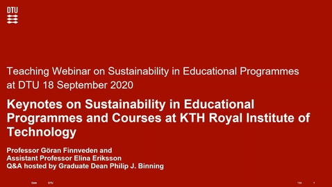 Thumbnail for entry Keynotes: Integrating sustainable development in education at KTH and Integrating SDG in teaching at KTH