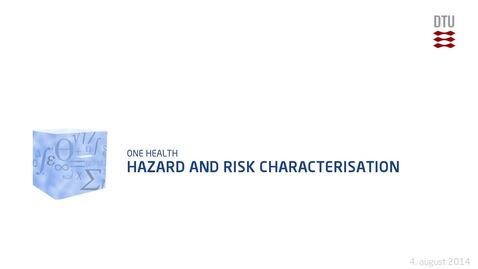 Thumbnail for entry Hazard and Risk Characterisation