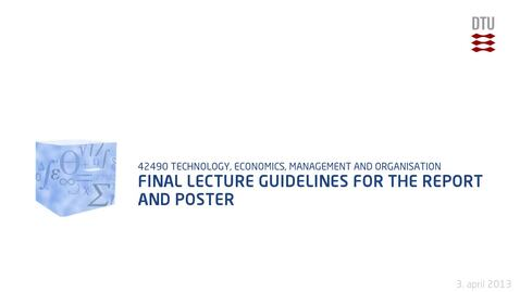 Thumbnail for entry Final Lecture Guidelines for the report and poster