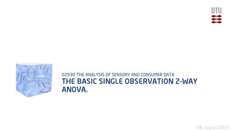 Thumbnail for entry The basic single observation 2-way ANOVA.