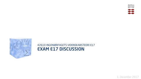 Thumbnail for entry Exam E17 Discussion