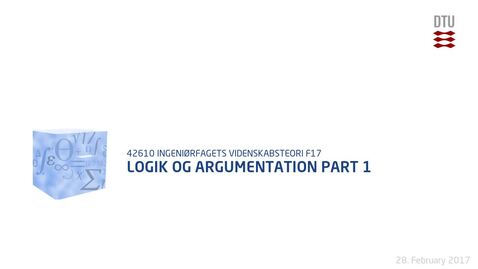 Thumbnail for entry Logik og argumentation Part 1
