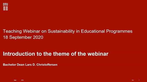 Thumbnail for entry Sustainability in Educational Programmes at DTU