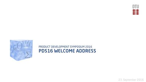 Thumbnail for entry PDS16 Welcome address