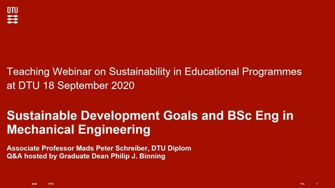 Thumbnail for entry Sustainable Development Goals and BSc Eng in Mechanical Engineering
