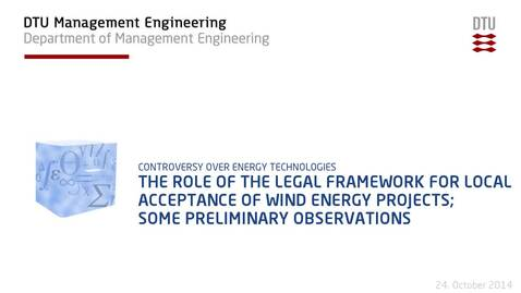 Thumbnail for entry The role of the legal framework for local acceptance of wind energy projects; some preliminary observations