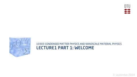 Thumbnail for entry Lecture1 part 1: Welcome