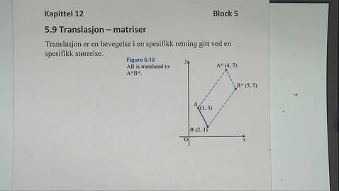 Thumbnail for entry Kapittel 12 5.9 Translasjon - matriser