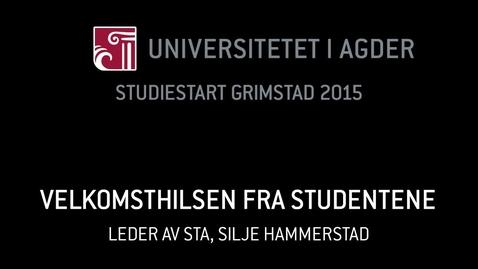 Thumbnail for entry 3. Velkomsthilsen fra studentene - Silje Hammerstad