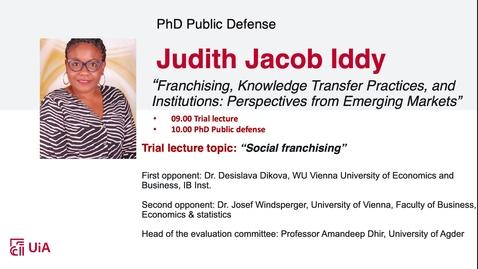 Thumbnail for entry Disputas Judith Jacob Iddy