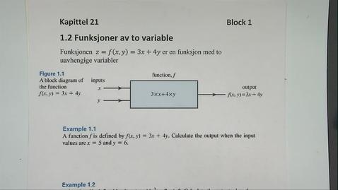 Thumbnail for entry Kapittel 21 1.2 Funksjoner av to variable
