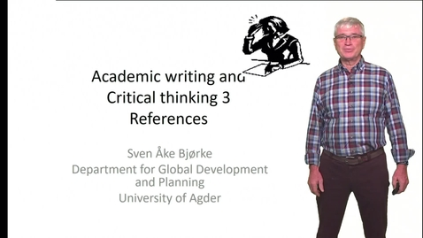 Thumbnail for entry Academic writing and Critical thinking 3 - References
