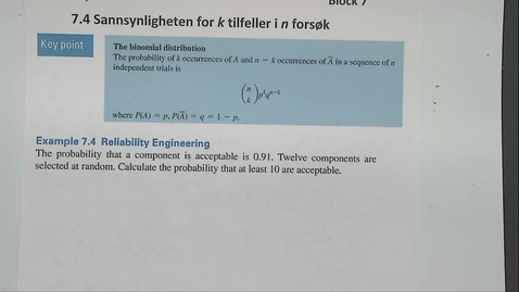 Thumbnail for entry Kapittel 23 7.4-1 Sannsynlighet eksempel 7.4