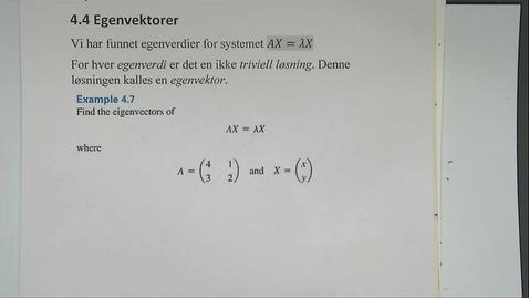 Thumbnail for entry Kapittel 13 4.4 Egenvektor - eksempel 1