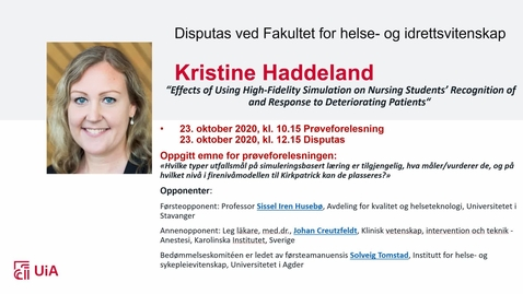 Thumbnail for entry Kristine Haddeland - Prøveforelesning og disputas