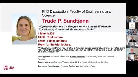 Thumbnail for entry Digital prøveforelesning og disputas - Trude Pedersen Sundtjønn