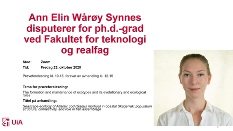 Thumbnail for entry Disputas Ann Elin Wårøy Synnes
