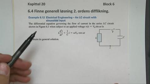 Thumbnail for entry Kapittel 20 6.4-2 Finne generell løsning til 2.ordens difflikning - eksempler 1