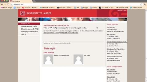 Thumbnail for entry Hvordan sette opp din egen hjemmeside på home.uia.no