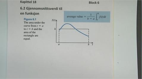 Thumbnail for entry Kapittel 18 6.2 Gjennomsnittsverdi til en funksjon