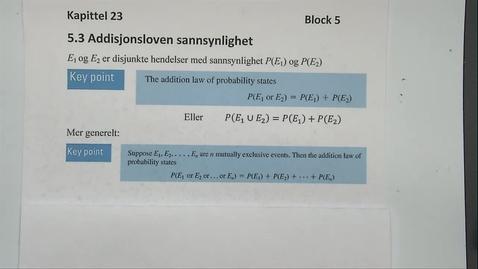 Thumbnail for entry Kapittel 23 5.3 Addisjonsloven sannsynlighet