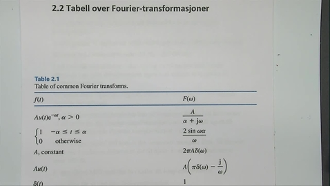 Thumbnail for entry Kapittel 24 2.2-2 Tabell Fourirer transformasjoner - digital lyd