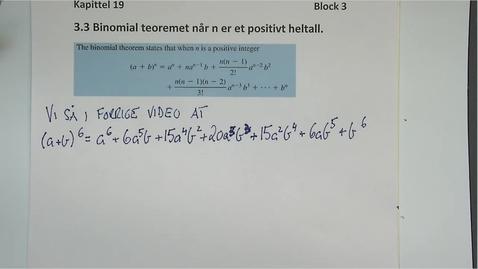Thumbnail for entry Kapittel 19 3.3 Binomial teorem med n positiv