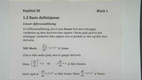 Thumbnail for entry Kapittel 20 1.2-1 Definisjoner differensiallikninger eksempler
