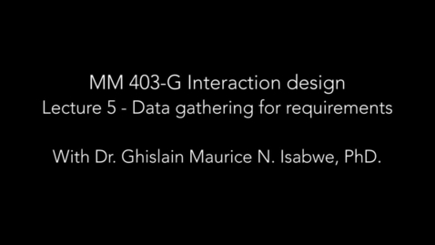 Thumbnail for entry Lecture 5- Data gathering for requirements